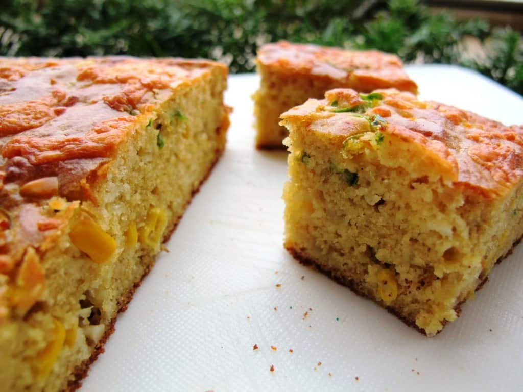 Easy, savoury cornbread with sweetcorn, onion, chili and cheddar