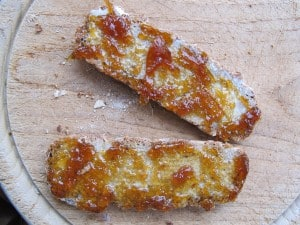 All-rye bread with homemade marmalade