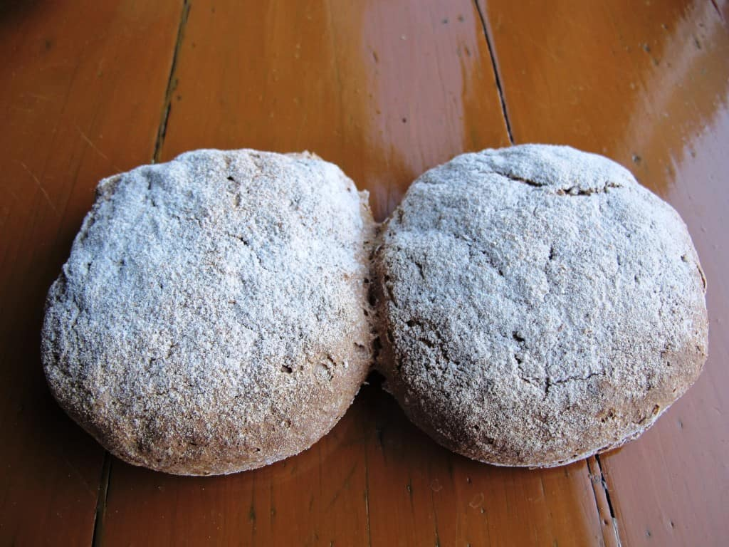 A pair of Vinschgerl, baked in the traditional way.