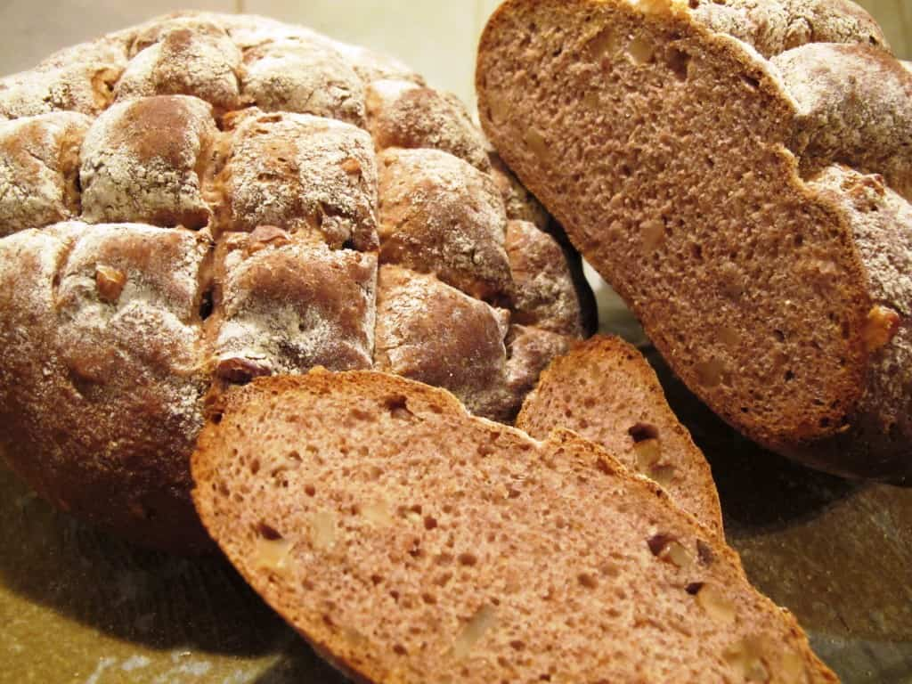 Walnut bread sliced