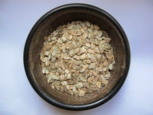 Rolled jumbo oats before toasting and soaking