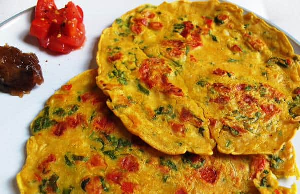 Rajasthani chickpea flour pancakes with apple, date and ginger chutney ...