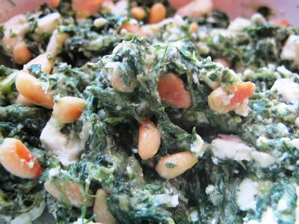 Spinach, feta and pine nut pastries filling (spanakopita)
