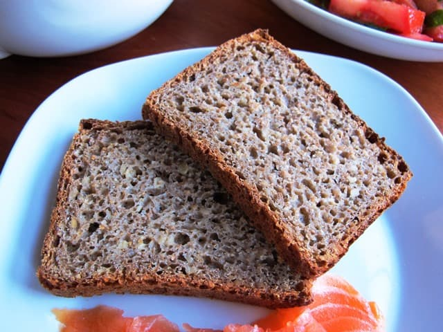 German sunflower seed bread with salmon