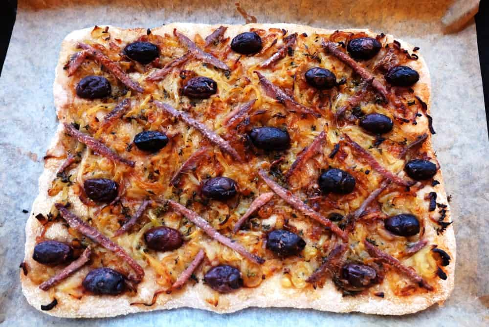 Pissaladière anchovy onion pizza