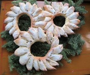 Three Christmas bread wreaths