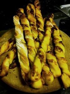Delicious breadsticks ready to be eaten