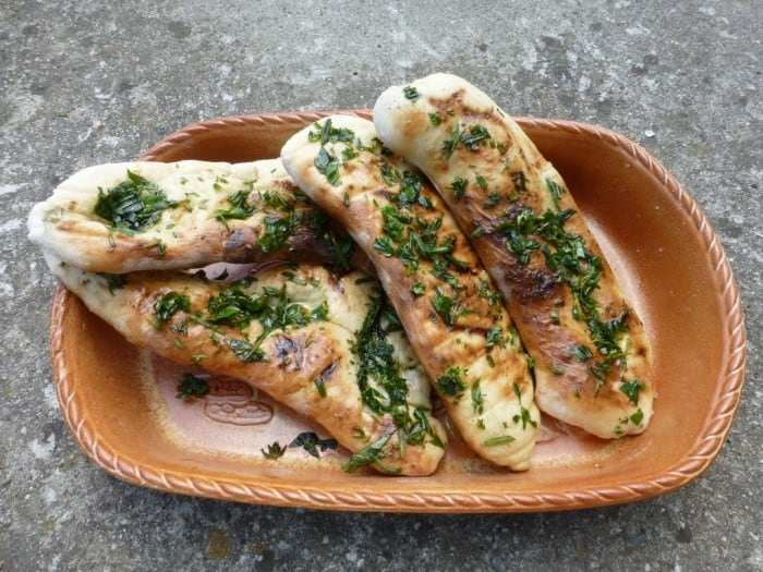 BBQ'd flatbreads with fresh herb oil