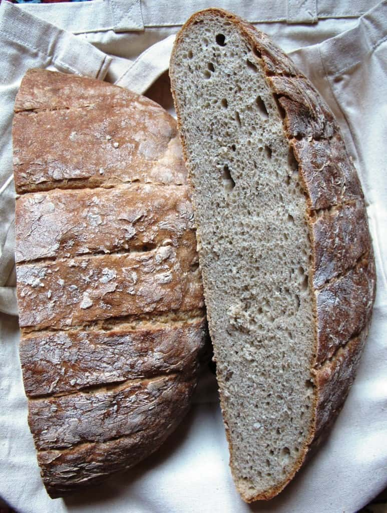 Light rye bread halves