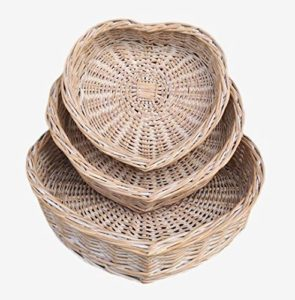 Heart Shaped Wicker Tray Set