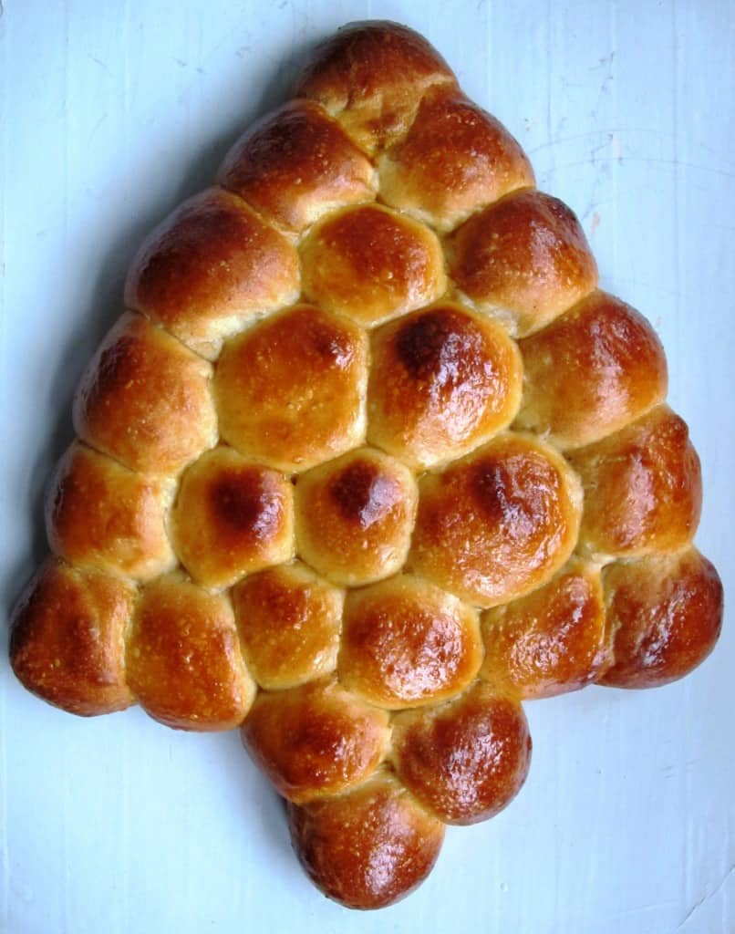 Christmas tree bread with pull apart buns