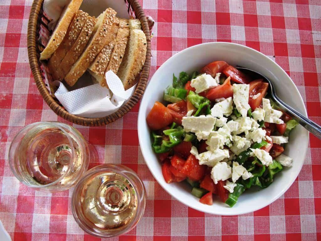 Cyprus village salad sesame bread and white wine
