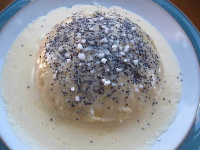 Germknödel with vanilla sauce