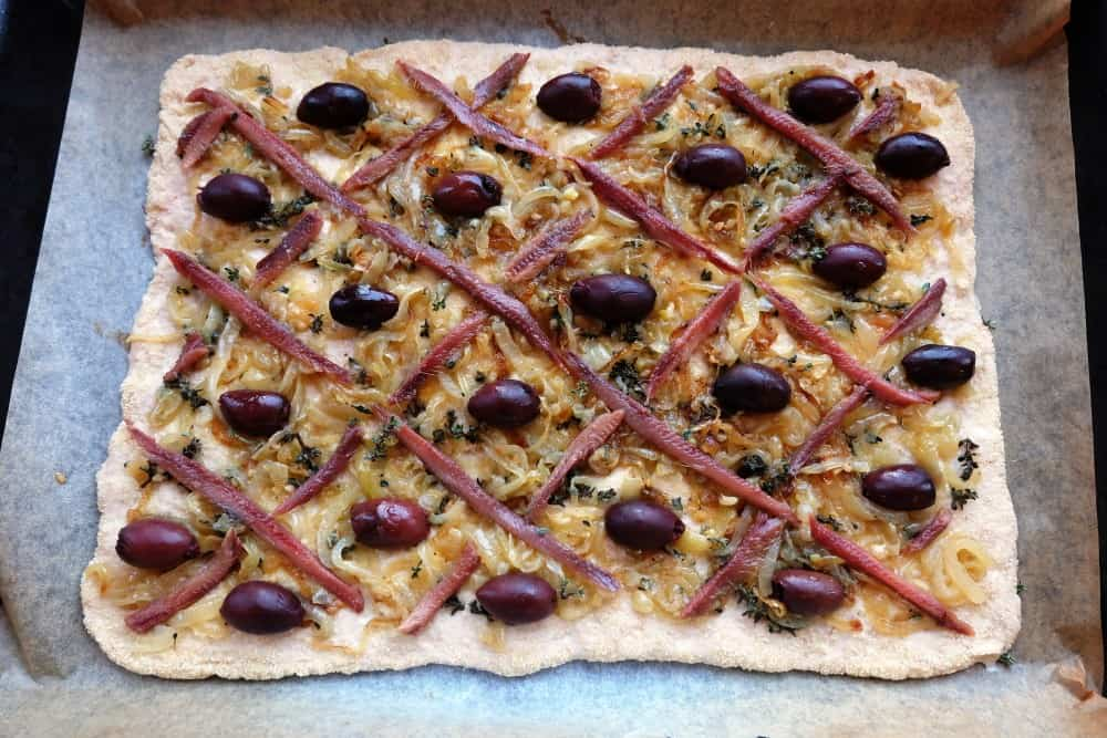 Pissaladiere anchovies onion garlic tyme olives